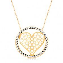 375 Goldcollier - ovale Kettenglieder, geschlitztes Herz im Kreis