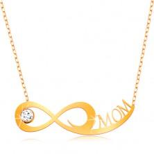 375 Gelbgoldcollier - feine Kette, Unendlichkeitssymbol, klarer Zirkonia, Aufschrift MOM
