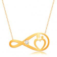 375 Goldcollier - feine Kette, Unendlichkeitssymbol mit Zirkonia und Herzen