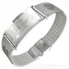Armband aus rostfreiem Stahl mit Skorpion und Herzen