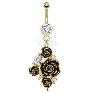 Goldfarbenes Bauchnabelpiercing aus 316L Stahl, schwarze Rose, klare Zirkonia