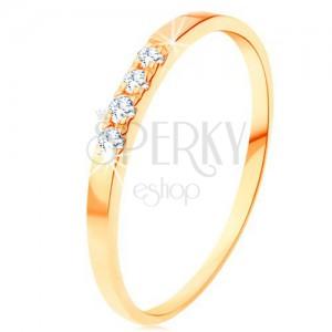 585 Gelbgoldring - Linie aus vier klaren Brillanten, schmale glänzende Ringschiene