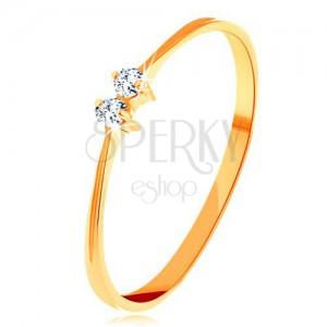Goldener 585 Brillantring - glanzvolle Ringschiene, zwei glitzernde klare Diamanten