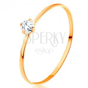 Brillantring aus 14K Gelbgold - schmale Ringschiene, runder klarer Diamant