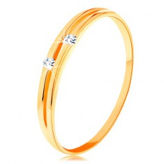 Diamantring aus 585 Gelbgold - glatte glänzende Ringschiene mit Brillanten