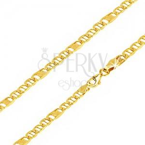 Kette aus gelbem 14K Gold, ovalförmige Augen mit Stift, Glied mit Gitter, 550 mm