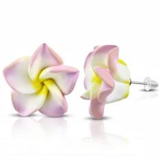 FIMO Ohrringe, rosa-weiße Blume mit gelber Mitte
