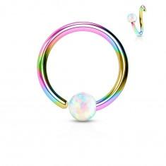 Piercing aus Chirurgenstahl, glänzender Regenbogenring mit Opalkugel