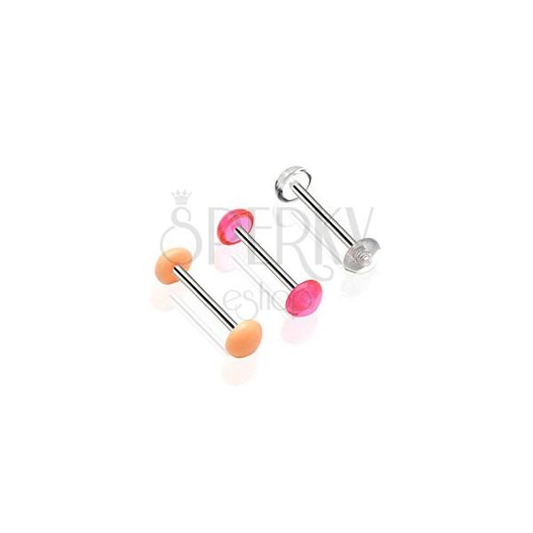 Zungenpiercing mit einer kolorierten Halbkugel