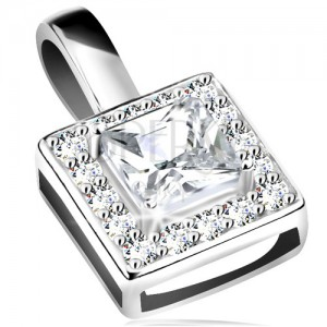 Anhänger, 925 Silber, glitzerndes Quadrat, klarer geschliffener Zirkoniastein