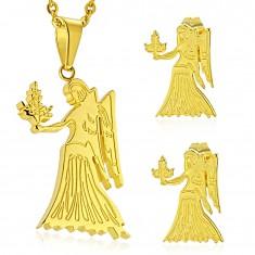 Set aus Edelstahl, Ohrstecker und Anhänger, goldfarben, Tierkreiszeichen JUNGFRAU