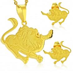 Edelstahlset in goldener Farbe, Anhänger und Ohrstecker, Sternzeichen LÖWE