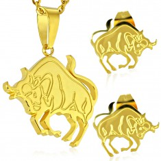 Edelstahlset in goldener Farbe - Anhänger und Ohrstecker, Sternzeichen STIER