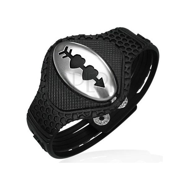 Gummi Armband mit zwei durchbohrten Herzen