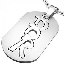 Kettenanhänger - ovale Platte aus Stahl, Aufschrift DOR