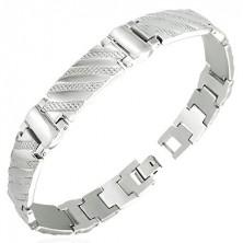 Armband aus Stahl in Uhrenoptik mit Streifen