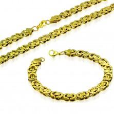 Collier und Armband aus Chirurgenstahl, goldene Farbe, byzantinisches Muster