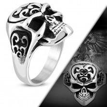 Massiver Ring aus 316L Stahl, Schädel mit Ornamenten, schwarzer Edelrost