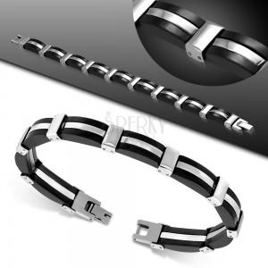 Armband aus silberfarbenen Edelstahlgliedern und schwarzen Gummiteilen