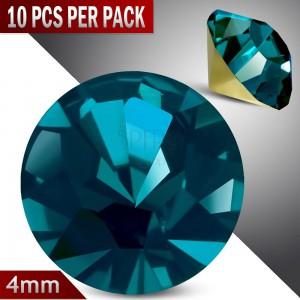 Blaue runde Zirkonia - Set 10 Stück, geschliffen und glitzernd, 4 mm