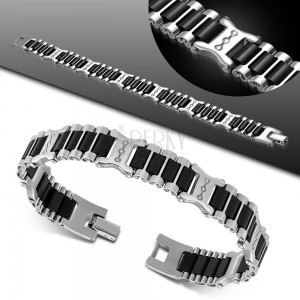 Edelstahl-Gummi-Armband, silberfarbene Glieder, schwarze Streifen