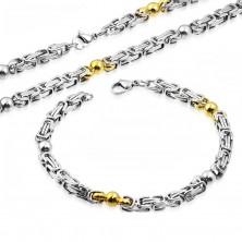 Edelstahlset - Collier und Armband, zweifarbige Glieder, glänzende Kugeln
