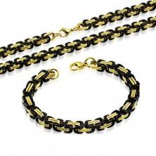 Set aus 316L Stahl - Collier und Armband, schwarze und goldfarbene Glieder