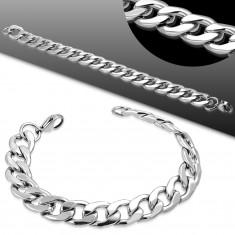 Armband in 316L Stahl, silberne Farbe, große abgeflachte Glieder