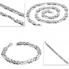 Silberfarbener Set aus 316L Stahl - Armband und Collier, Rechtecke mit Kreuzen