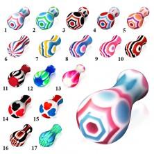 Acrylplug fürs Ohr, an einem Ende breiter, diverse Farben und Größen
