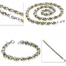 Edelstahlset - Armband mit Collier, zweifarbige ovale Glieder