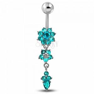 Piercing für Bauchnabel aus Chirurgenstahl, blaue Zirkoniablumen