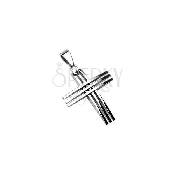 Kettenanhänger aus Chirurgenstahl - Kreuz aus schmalen glänzenden Linien