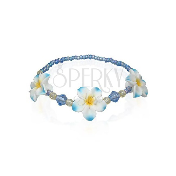 Perlenarmband mit Fimo Blumen, blau