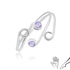 Ring aus 925 Silber, für Finger oder Zehe, schmale Ringschiene mit lila Zirkonia