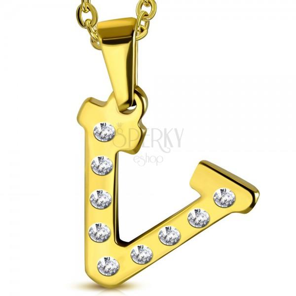 Edelstahlanhänger in goldener Farbe, Buchstabe V mit klaren Zirkonia ...