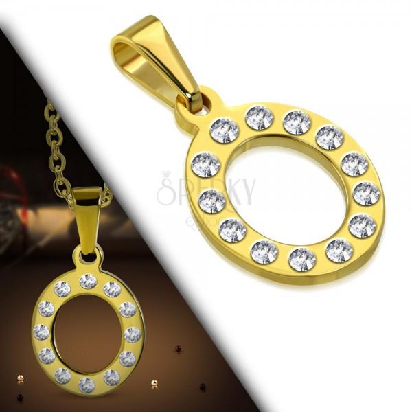 Edelstahlanhänger in goldener Farbe, Buchstabe O mit klaren Zirkonia ...