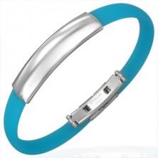 Blaues Gummi Armband mit glatter polierter Platte