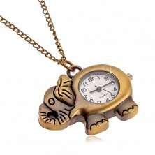 Uhr an der Kette, matte messingfarbene Oberfläche, Elefant