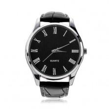 Armbanduhr für Herren, schwarzer Lederriemen, rundes schwarzes Zifferblatt