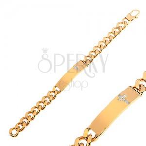 Armband aus Edelstahl, goldfarbene Glieder, Plättchen mit Zirkoniakreuz