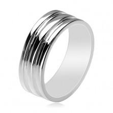 925 Silberring - Trauring mit zwei vertieften Streifen, 8 mm