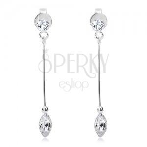 Ohrhänger aus 925 Silber, schmales Stäbchen, zwei klare Swarovski Kristalle