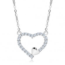 Collier aus 925 Silber, Zirkoniaherzkontur und kleines Herzchen