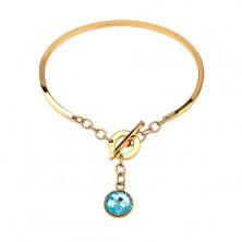 Goldfarbener Edelstahlarmreifen, nicht vollendetes Oval, hängender blauer Zirkonia