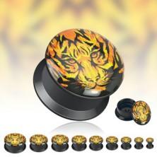 Schwarzer Sattelohrplug - Tigergesicht