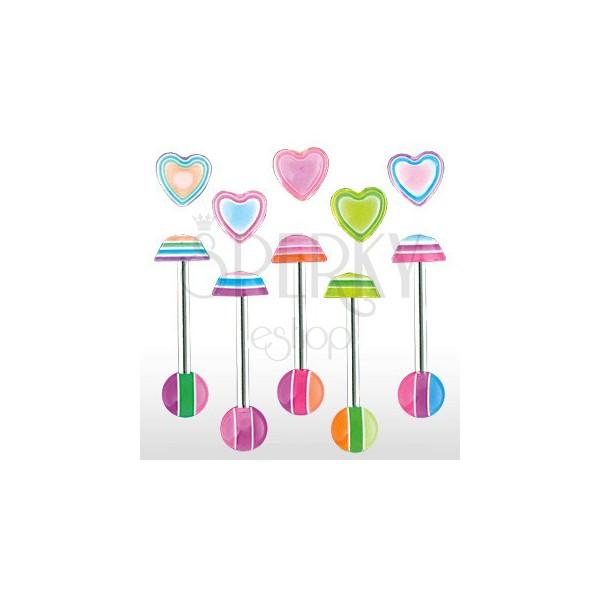 Zungenpiercing- Multicolor heart