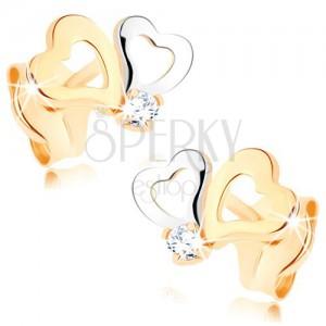 Diamantohrstecker aus 585 Gold - zweifarbige Herzkonturen, klarer Brillant