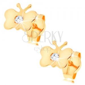 Ohrstecker aus 14K Gelbgold - glanzvoller flacher Schmetterling, klarer runder Diamant