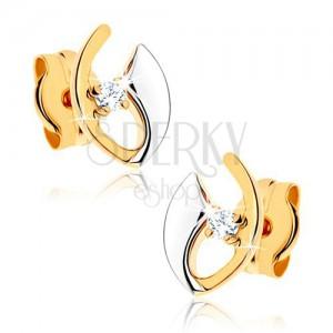 Diamantohrstecker aus 14K Gold - klarer Brillant in nicht vollendeter Kontur